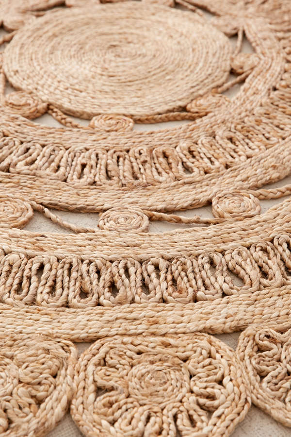 Slide View: 4: Lakho Woven Jute Round Rug - Lakho Woven Jute Round Rug Urban Outfitters