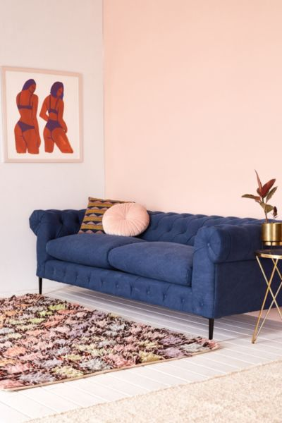 Canal Tufted Sofa - Blue One Size at Urban Outfitters