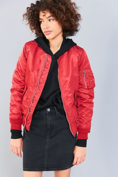 Alpha Industries MA-1 Red Bomber Jacket - Red XS at Urban Outfitters