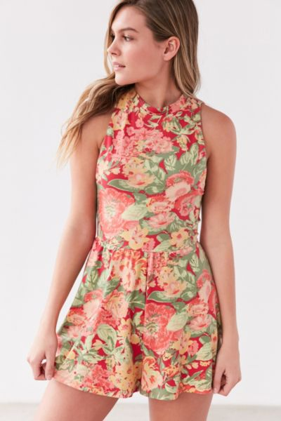 Kimchi Blue Rebecca Floral Mock Neck Romper - Red Multi XS at Urban Outfitters