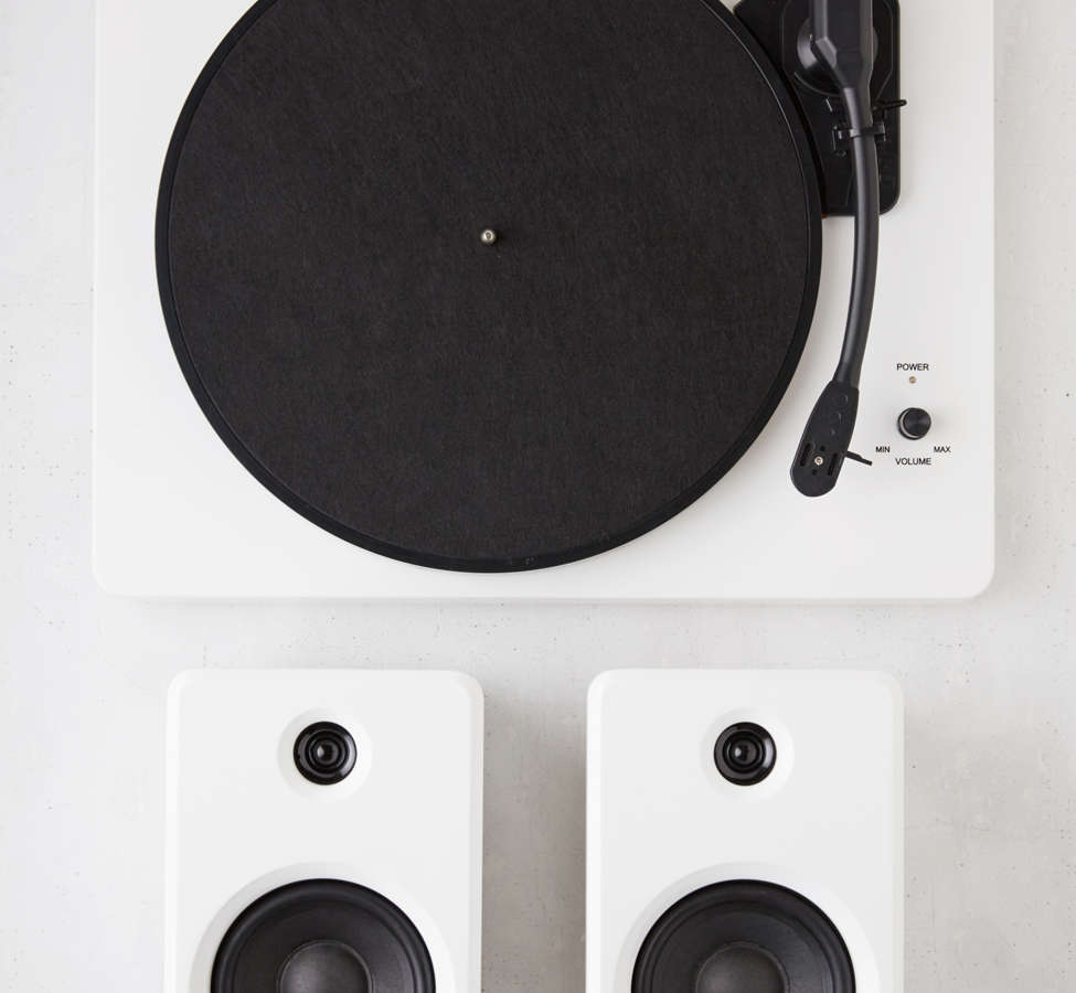 Slide View: 1: EP-33 Bluetooth Turntable With Speakers - White