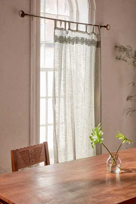 Adara Trim Curtain - Green
