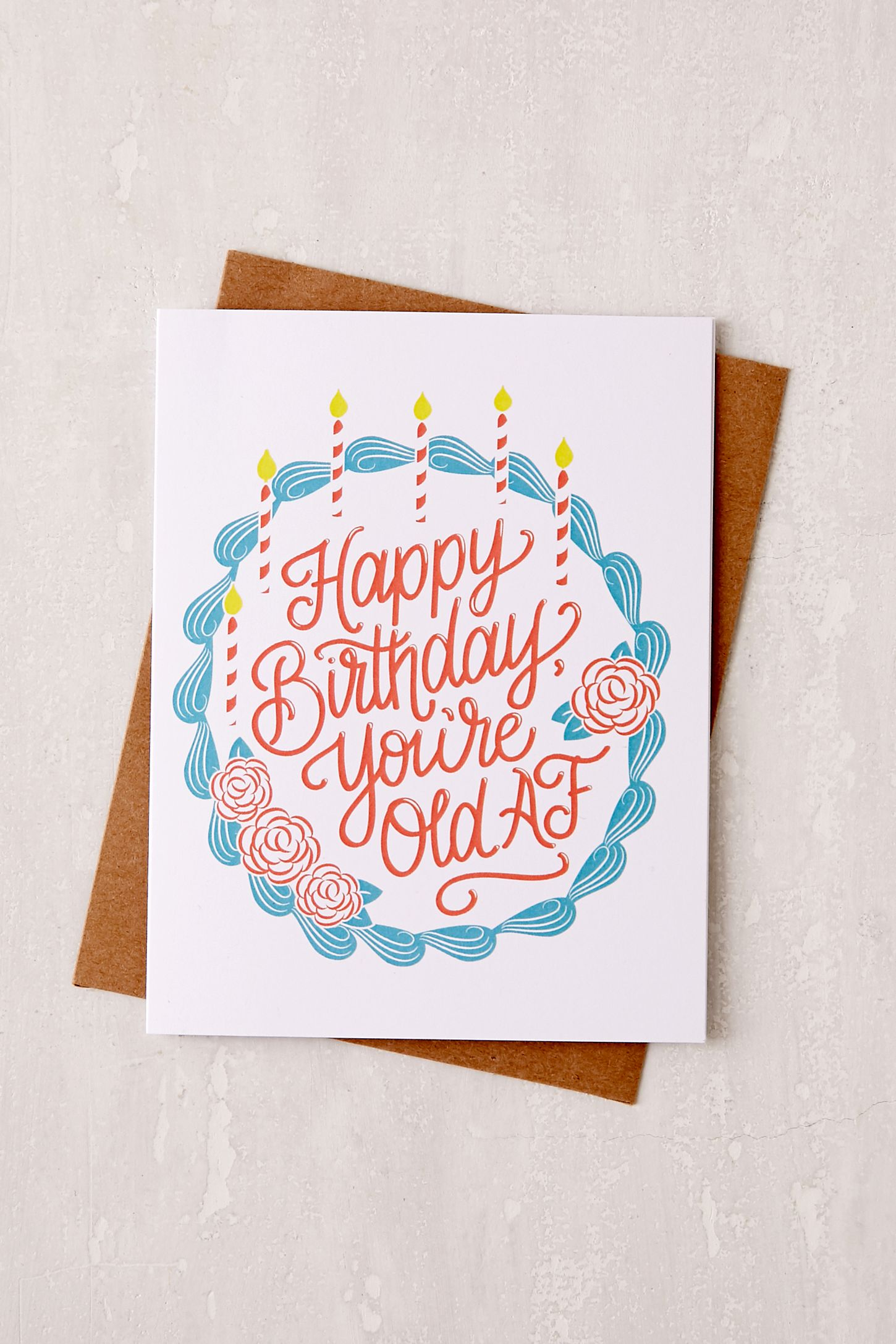 Lionheart Prints Old Af Birthday Card Urban Outfitters