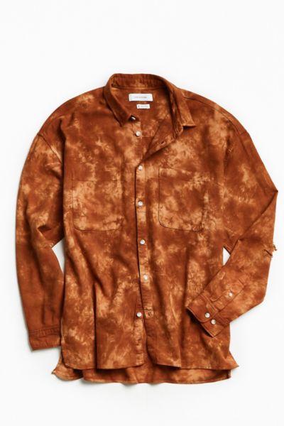 UO Acid Bleached Drop Shoulder Flannel Button-Down Shirt