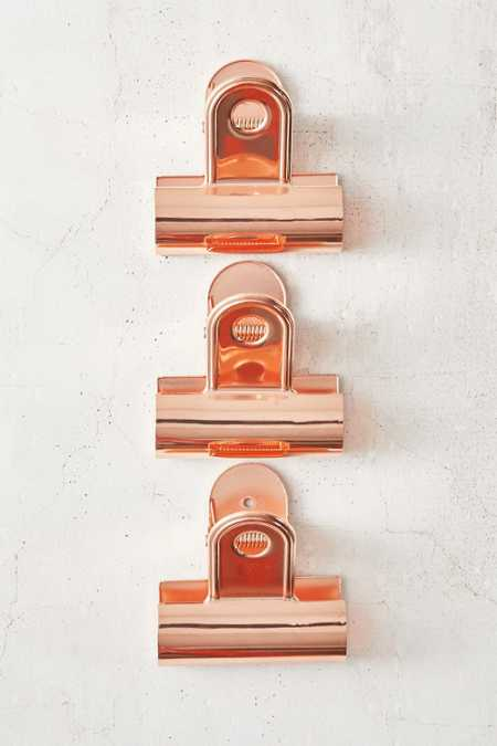 Slide View: 2: Giant Copper Bulldog Clips Set