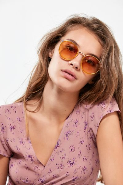 Charlie Metal Round Sunglasses - Mustard One Size at Urban Outfitters