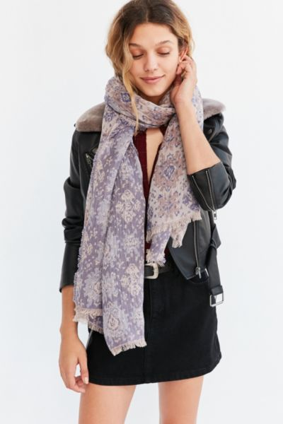 Intarsia Blanket Scarf - Pink One Size at Urban Outfitters