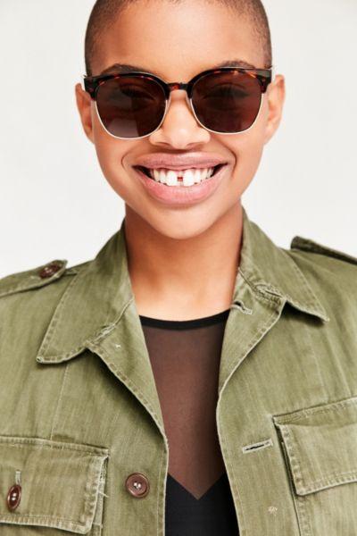 Squared Half-Frame Sunglasses