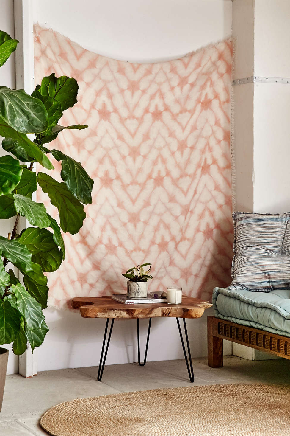 Slide View: 1: Graham Keegan Blush Shibori Tapestry