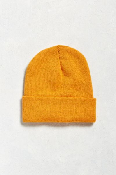 UO Solid Beanie - Orange One Size at Urban Outfitters