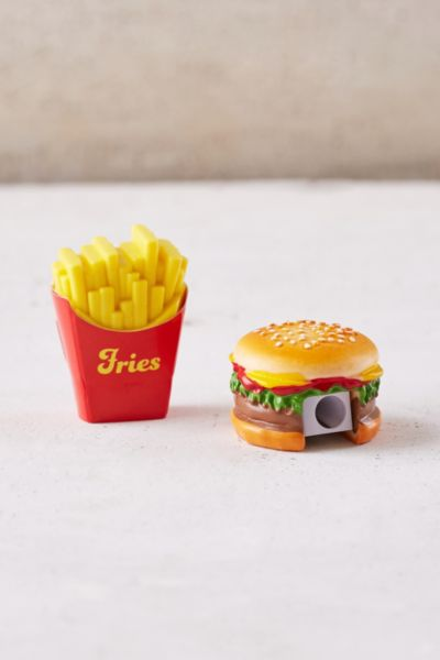 Fast Food Pencil Sharpener + Eraser Set - Multi One Size at Urban Outfitters