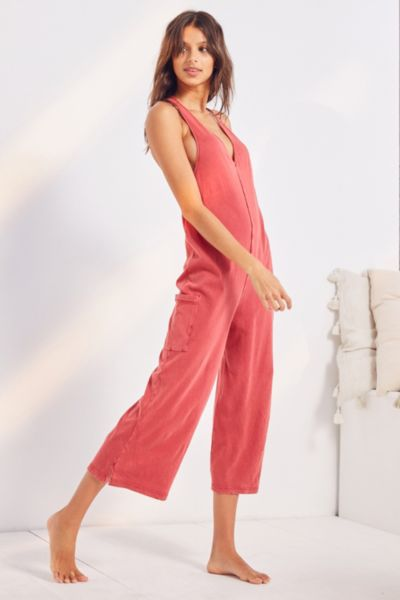 Out From Under Evi Midi Jumpsuit - Maroon S at Urban Outfitters