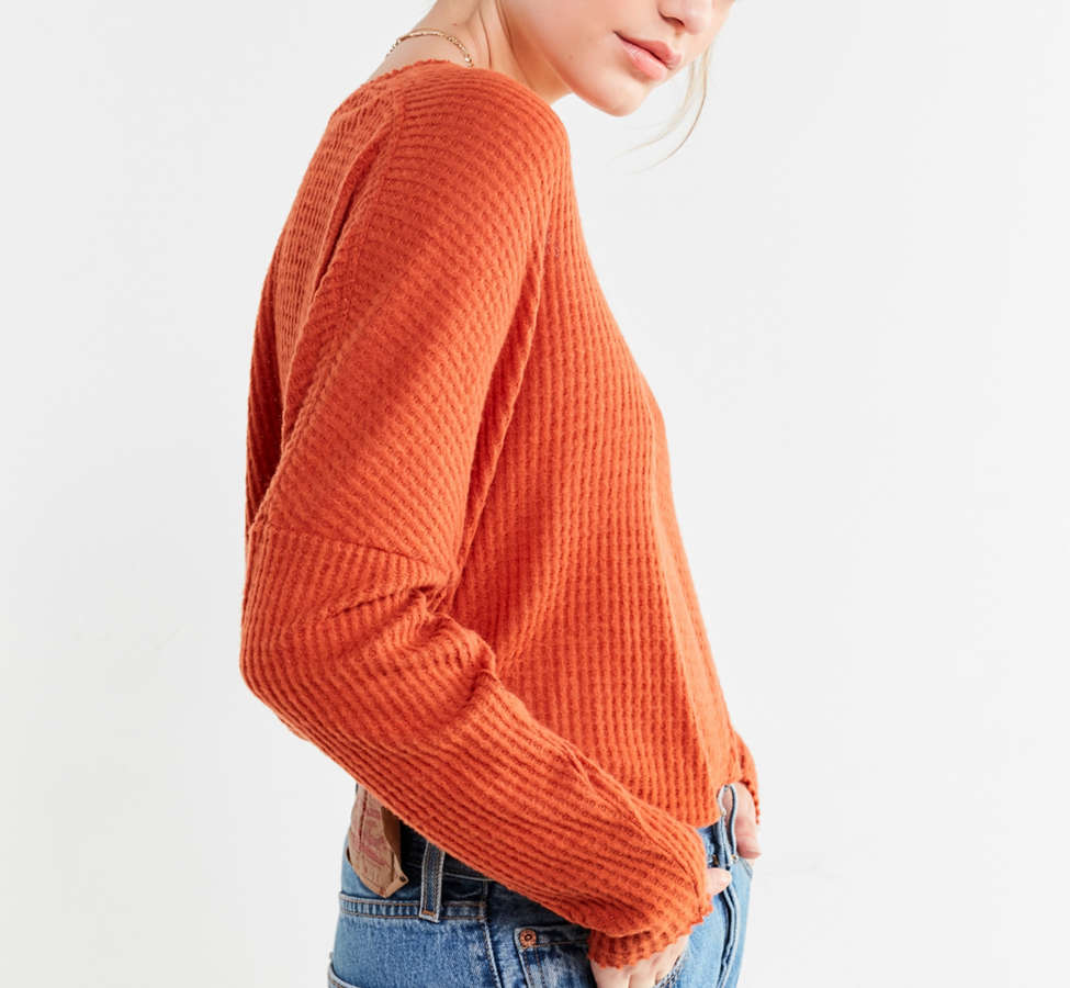 Slide View: 4: Out From Under Oversized Cozy Thermal V-Neck Top