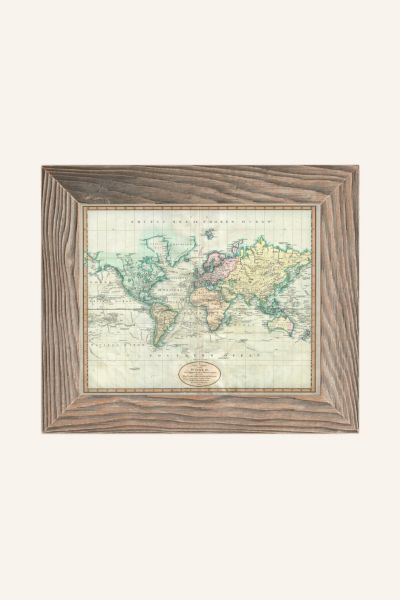Adam Shaw Vintage World Map (1801) Art Print - Light Grey One Size at Urban Outfitters
