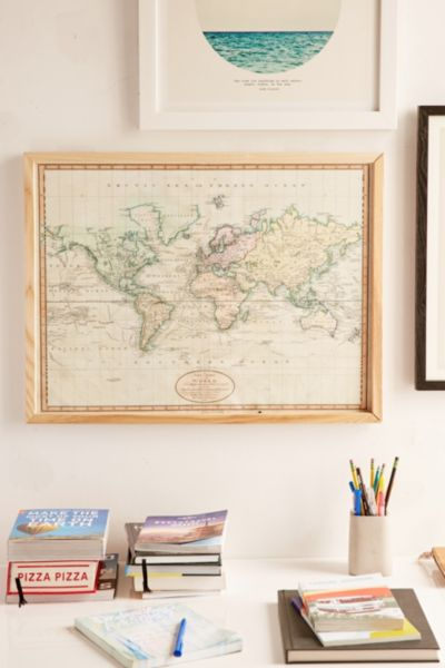 Adam Shaw Vintage World Map (1801) Art Print - Neutral One Size at Urban Outfitters