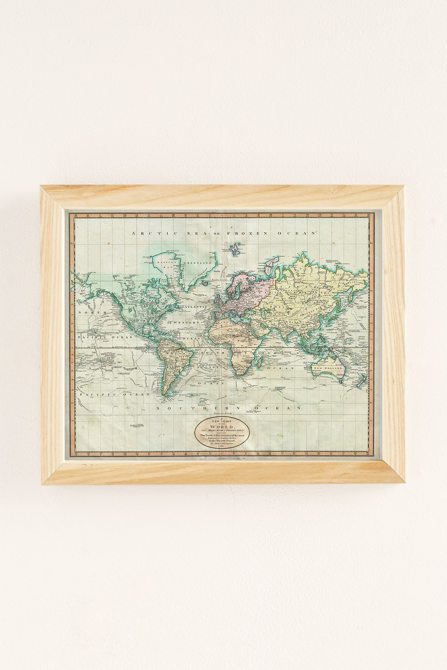 Adam Shaw Vintage World Map Art Print Urban Outfitters - Vintage world map on wood