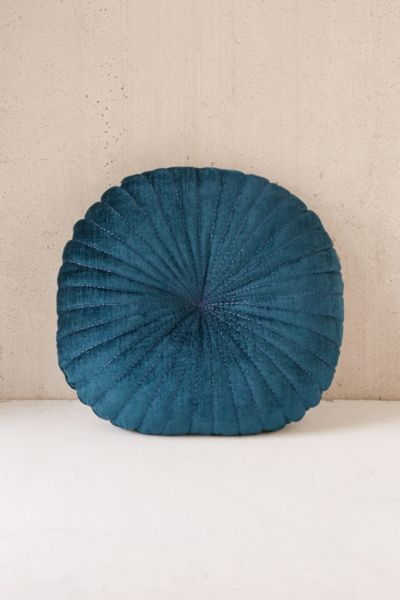 Shelly Round Velvet Pillow - Teal One Size at Urban Outfitters