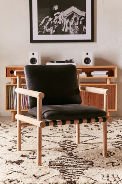 Leather Dowel Arm Chair - Black One Size at Urban Outfitters