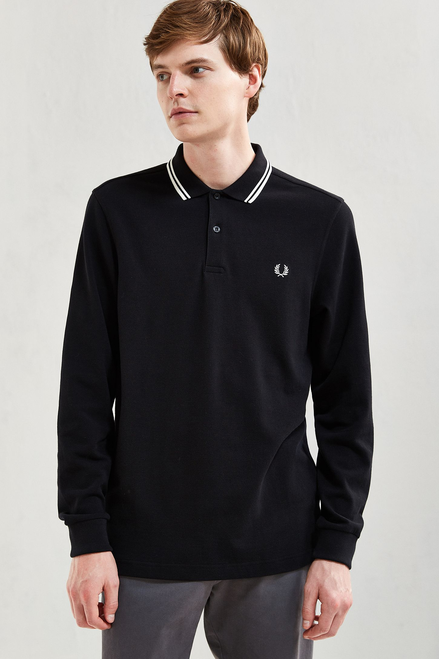 Fred Perry Twin Tipped Long Sleeve Polo Shirt Urban Outfitters