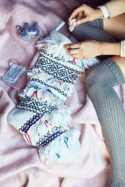 Fringed Holiday Stocking - Neutral One Size at Urban Outfitters