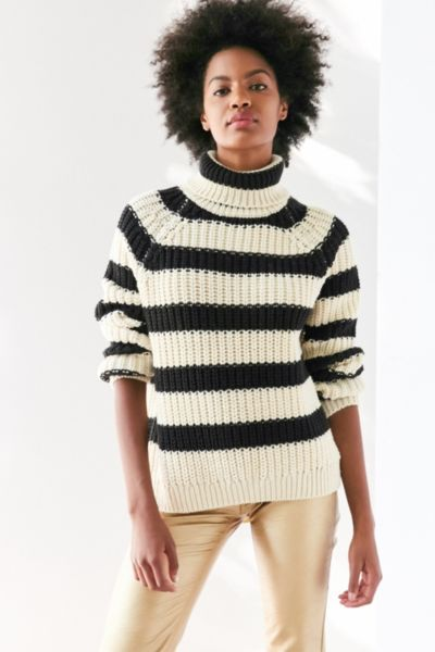 BDG Aria Striped Turtleneck Sweater