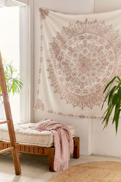 Folklorica Medallion Tapestry - Rose One Size at Urban Outfitters