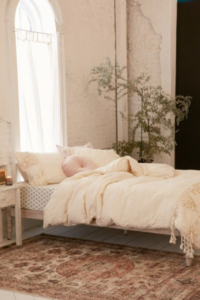 Xandra Trim Duvet Cover - Cream KING at Urban Outfitters