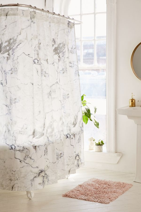 Black White Marble Shower Curtain