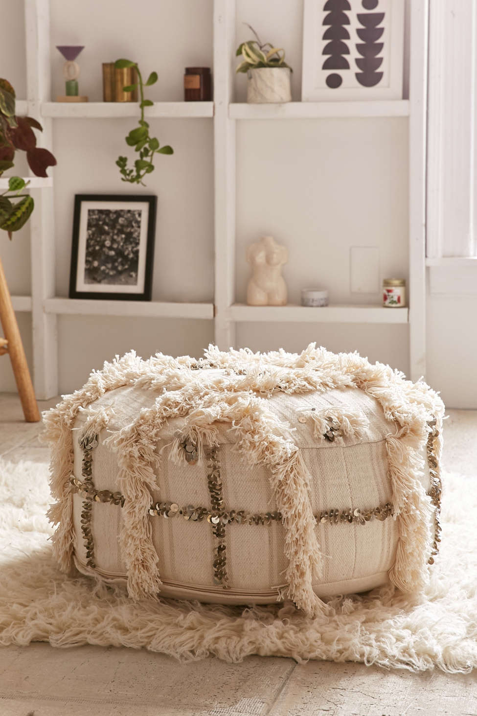 Slide View: 1: Moroccan Coin Pillow Pouf