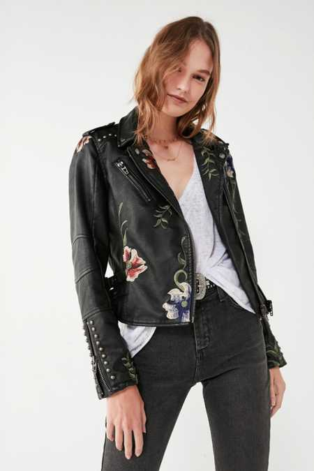 BLANKNYC As You Wish Floral Embroidered Moto Jacket