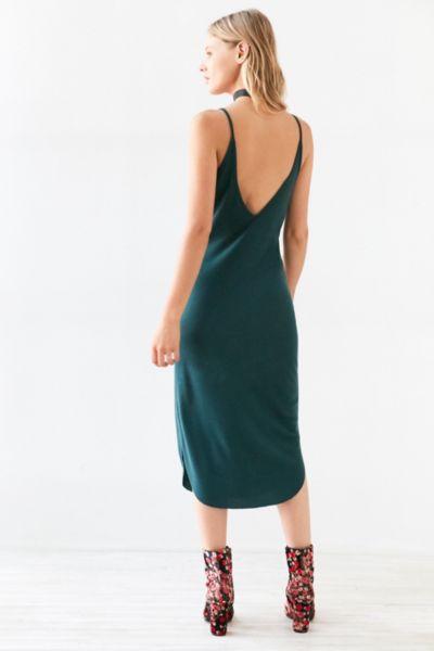 Sparkle & Fade Ribbed Knit Bodycon Midi Slip Dress