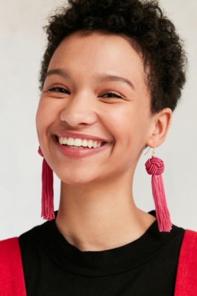 Vanessa Mooney Astrid Knotted Tassel Earring - Pink One Size at Urban Outfitters