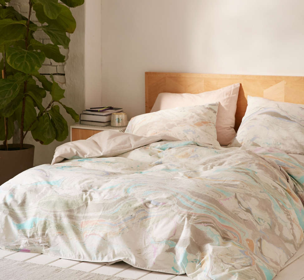 Slide View: 1: Mixed Marble Duvet Cover