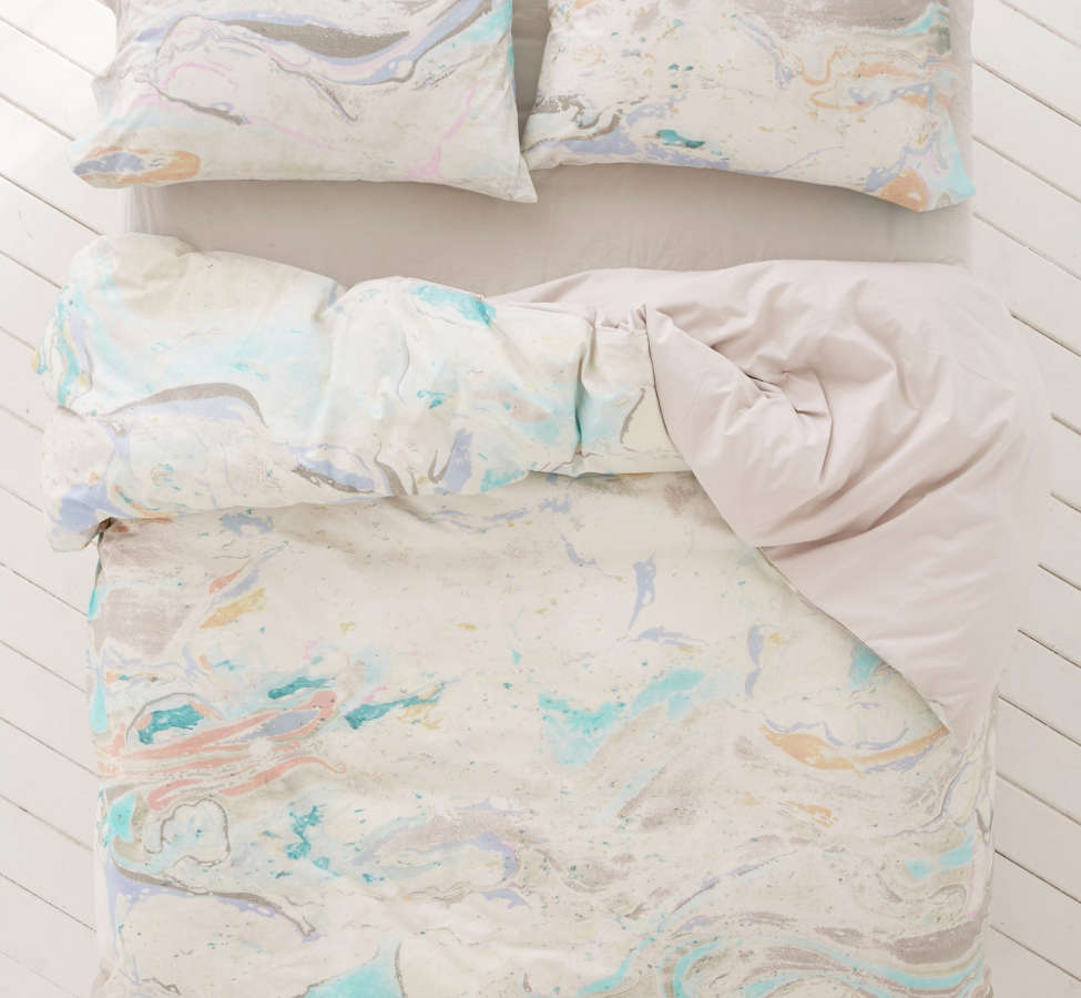 Slide View: 2: Mixed Marble Duvet Cover