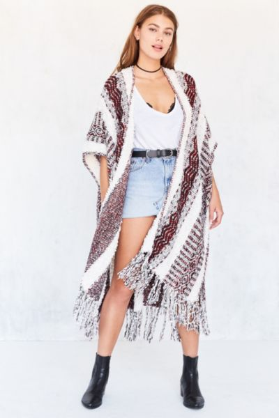 Ecote Textured Stripe Sweater Poncho