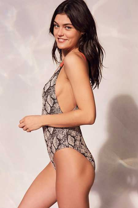 Out From Under Snake Skin Printed One-Piece Swimsuit