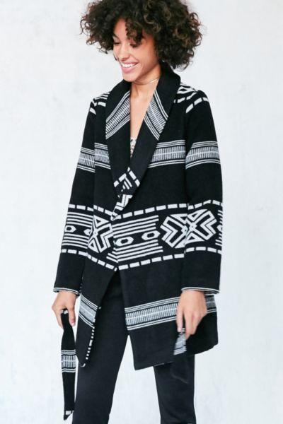 Ecote Patterned Blanket Wrap Coat