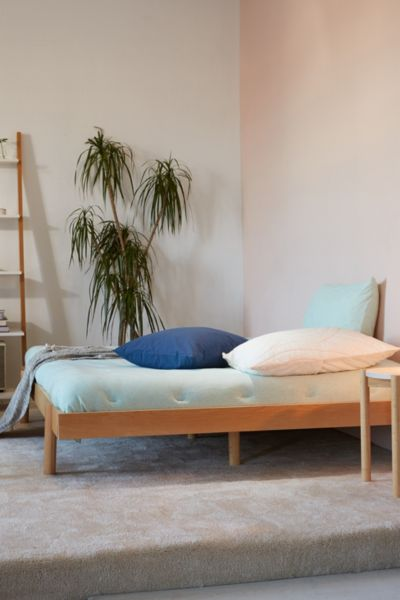 Luka Wood Platform Bed - Light Brown QUEEN at Urban Outfitters