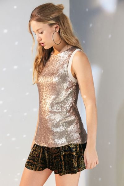 Silence + Noise Sparkle And Shine Sequin Tank Top