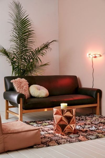 Cresley Leather Sofa - Black One Size at Urban Outfitters