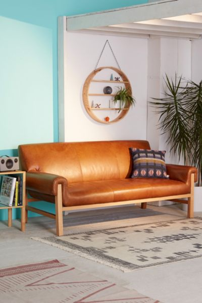 Cresley Leather Sofa - Brown One Size at Urban Outfitters
