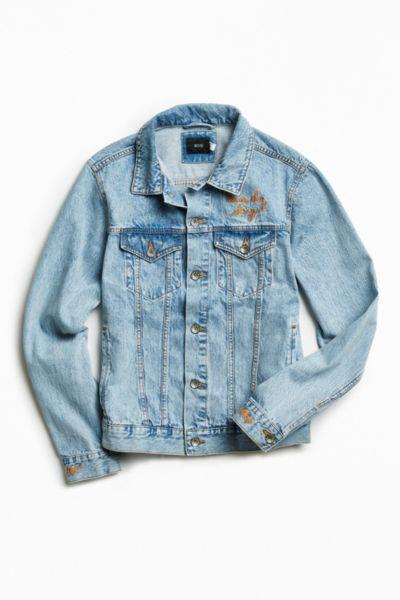 UO Embroidered Denim Trucker Jacket