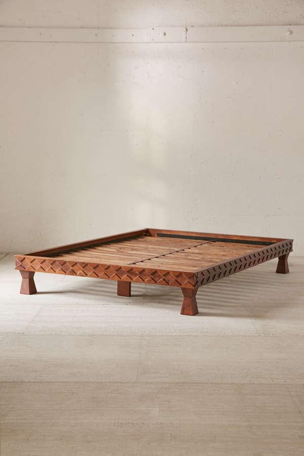 Eloisa Carved Wood Platform Bed Urban Outfitters