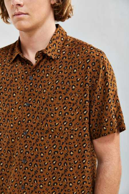 UO Owen Leopard Rayon Short Sleeve Button-Down Shirt