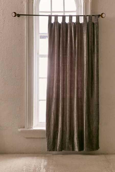 Blue sofa Brown Curtains