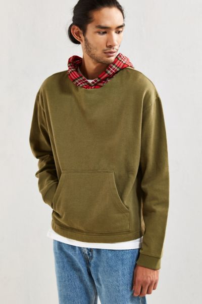 UO Boxy Fit Hoodie Sweatshirt - Olive S at Urban Outfitters