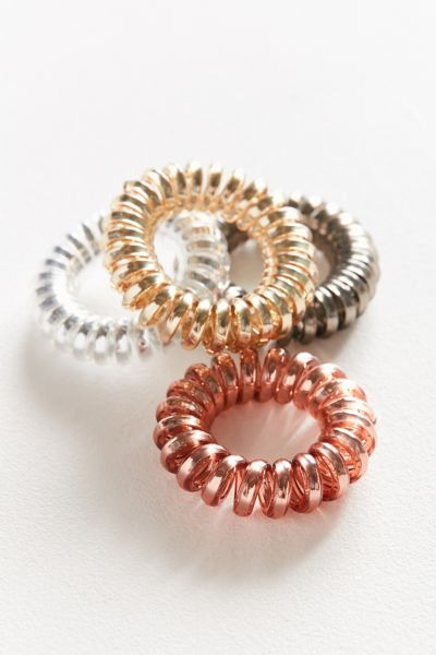 Telephone Cord Hair Tie Set - Neutral One Size at Urban Outfitters