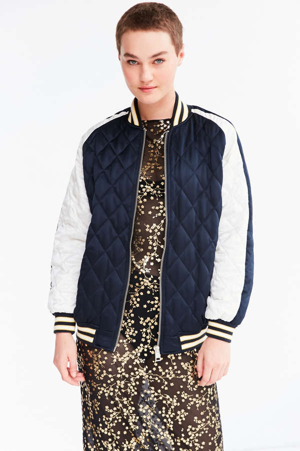Silence   Noise Quilted Satin Varsity Bomber Jacket | Urban Outfitters
