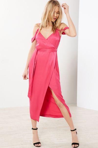 Bardot Leah Satin Off-The-Shoulder Maxi Wrap Dress