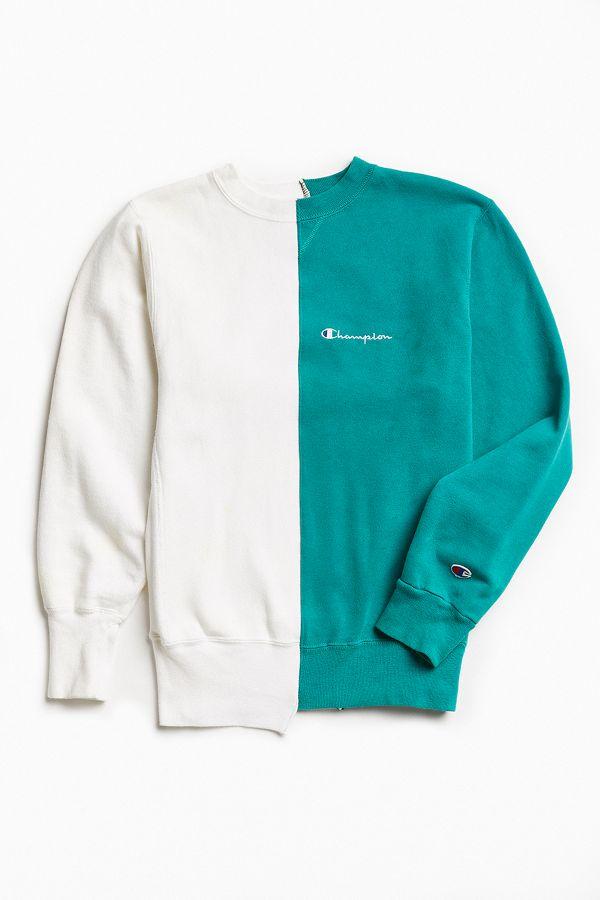 ecf69cf314b8 Vintage Champion White Green Split-Seam Crew Neck Sweatshirt